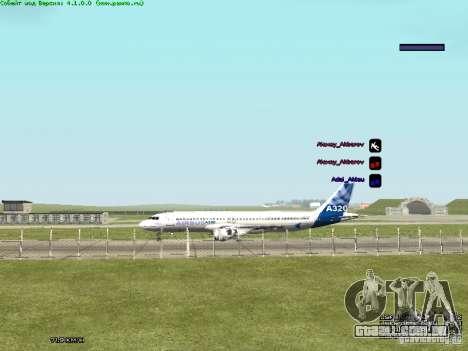 Airbus A320-300 para GTA San Andreas traseira esquerda vista