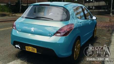Peugeot 308 GTi 2011 v1.1 para GTA 4 traseira esquerda vista