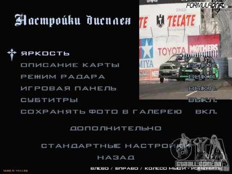 Fórmula Drift-estilo menu para GTA San Andreas quinto tela