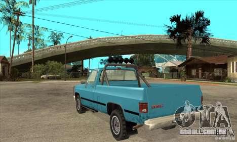 GMC Sierra 2500 para GTA San Andreas traseira esquerda vista