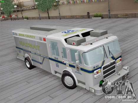 Pierce Fire Rescues. Bone County Hazmat para GTA San Andreas traseira esquerda vista