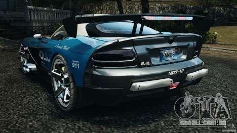 Dodge Viper SRT-10 ACR ELITE POLICE [ELS] para GTA 4 traseira esquerda vista