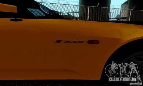 Honda S2000 Tunable para GTA San Andreas traseira esquerda vista