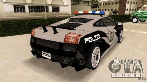 Lamborghini Gallardo Police para GTA Vice City vista traseira esquerda