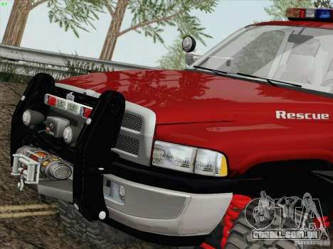 Dodge Ram 3500 Search & Rescue para GTA San Andreas esquerda vista