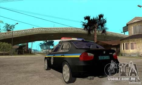 BMW 3 série DPS para GTA San Andreas traseira esquerda vista
