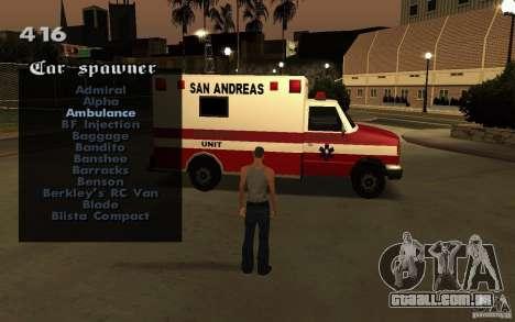 Vehicles Spawner para GTA San Andreas sexta tela