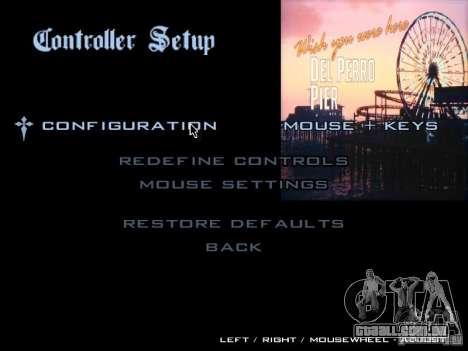 O menu principal no estilo de GTA 5 para GTA San Andreas quinto tela