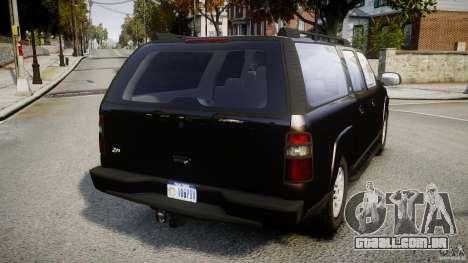 Chevrolet Suburban Z-71 2003 para GTA 4 traseira esquerda vista