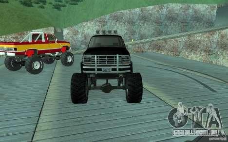 Ford Bronco Monster Truck 1985 para GTA San Andreas vista traseira