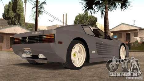 Ferarri Testarossa 1991 para GTA San Andreas esquerda vista