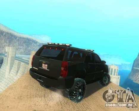 Chevrolet Suburban Crankcase Transformers 3 para GTA San Andreas traseira esquerda vista