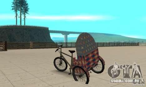 Manual Rickshaw v2 Skin5 para GTA San Andreas traseira esquerda vista
