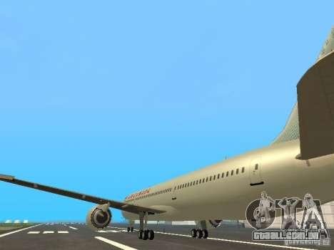 Boeing 787 Dreamliner Air Canada para GTA San Andreas traseira esquerda vista