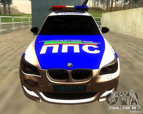 BMW M5 E60 polícia para GTA San Andreas vista interior