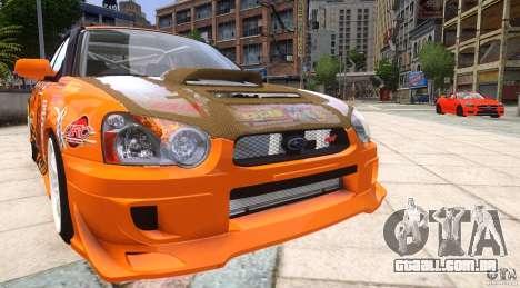 Subaru Impreza WRX STi GDB Team Orange para GTA 4 vista de volta