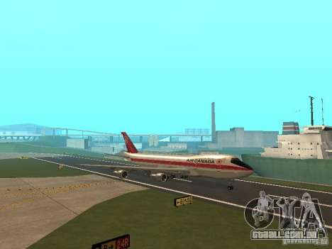 Boeing 747 Air Canada para GTA San Andreas vista interior