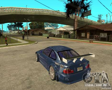 BMW M3 GTR de Need for Speed Most Wanted para GTA San Andreas esquerda vista