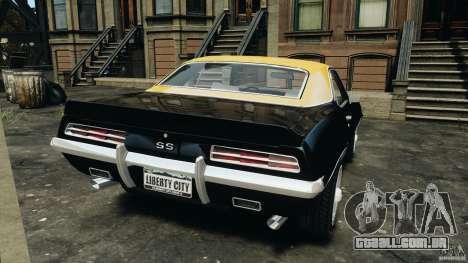 Chevrolet Camaro SS 350 1969 para GTA 4 traseira esquerda vista