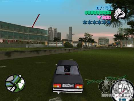 2105 Vaz para GTA Vice City vista traseira esquerda