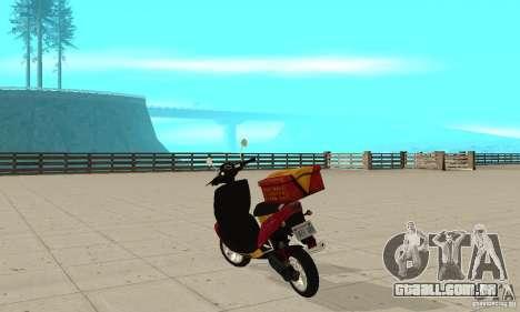 GTAIV Pizzaboy para GTA San Andreas traseira esquerda vista
