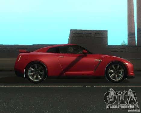 Nissan GTR R35 Spec-V 2010 Stock Wheels para GTA San Andreas esquerda vista