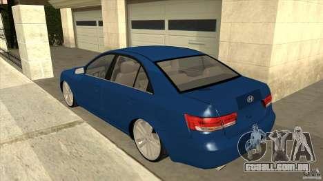 Hyundai Sonata NF para GTA San Andreas traseira esquerda vista