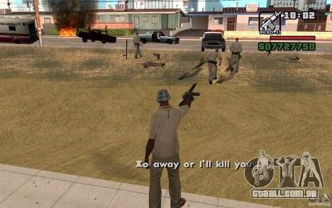 A ameaça de para GTA San Andreas segunda tela