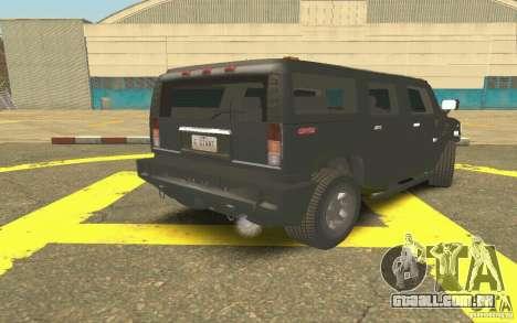 Hummer H2 Stock para GTA San Andreas vista direita