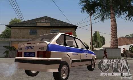 ВАЗ 2114 polícia para GTA San Andreas vista direita