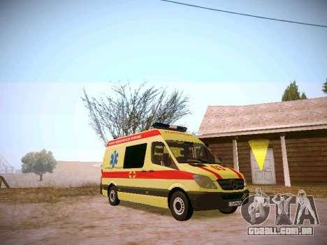 Mercedes Benz Sprinter Ambulance para GTA San Andreas traseira esquerda vista