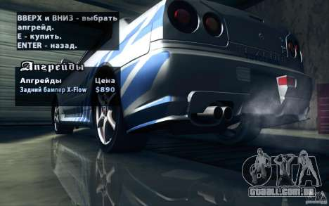 Nissan Skyline GTR R34 VSpecII para as rodas de GTA San Andreas