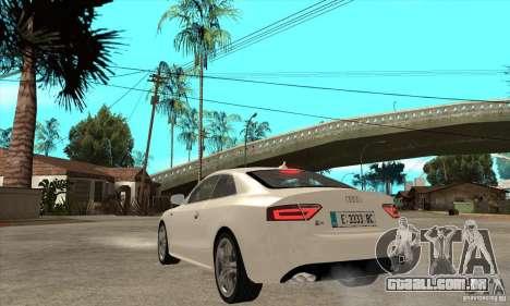 Audi S5 2008 para GTA San Andreas traseira esquerda vista