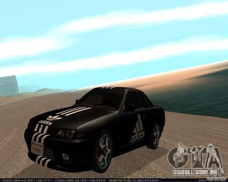 Nissan Skyline R32 GT-R + 3 vinil para GTA San Andreas esquerda vista