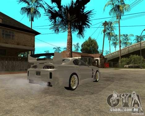 Toyota Supra M4K para GTA San Andreas traseira esquerda vista