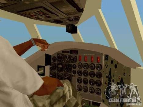 B-58 Hustler para GTA San Andreas vista interior
