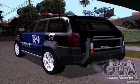NFS Undercover Police SUV para GTA San Andreas traseira esquerda vista