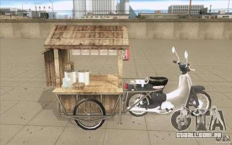 Honda Super Cub com um carrinho para vista lateral GTA San Andreas
