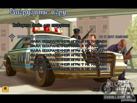 Menu como em GTA IV para GTA San Andreas por diante tela