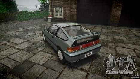 Honda CRX 1991 para GTA 4 traseira esquerda vista