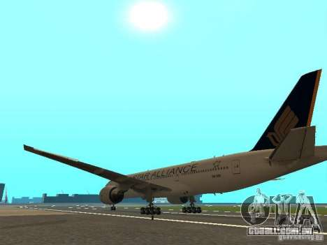 Boeing 777-200 Singapore Airlines para GTA San Andreas traseira esquerda vista