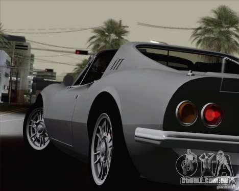 Ferrari 246 Dino GTS para GTA San Andreas vista inferior