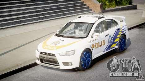 Mitsubishi Evolution X Police Car [ELS] para GTA 4 vista de volta