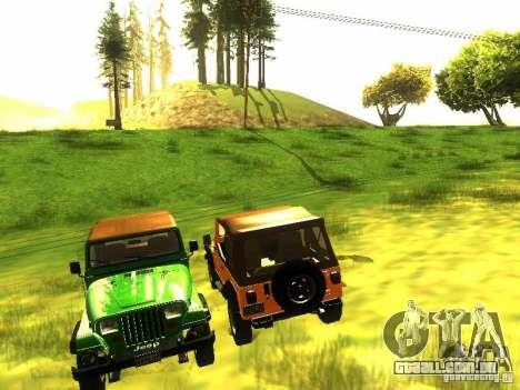 Jeep Wrangler Convertible para GTA San Andreas vista interior