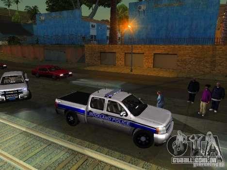 Chevrolet Silverado Rockland Police Department para GTA San Andreas esquerda vista