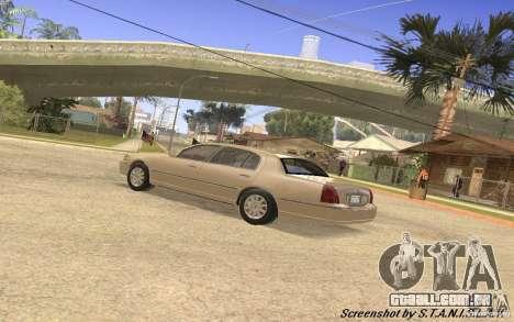 Lincoln Towncar Secret Service para GTA San Andreas vista interior