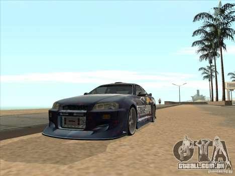 Nissan Skyline R34 VeilSide para GTA San Andreas vista direita