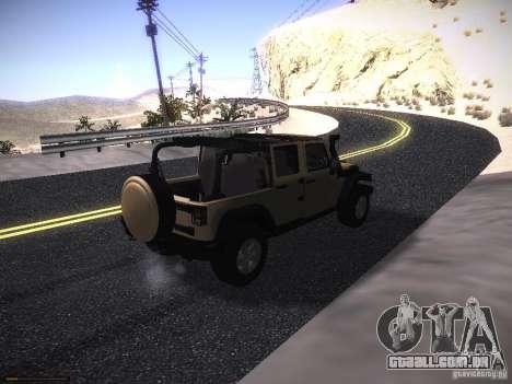 Jeep Wrangler Rubicon Unlimited 2012 para GTA San Andreas traseira esquerda vista