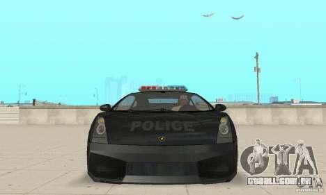 Lamborghini Gallardo Police para GTA San Andreas vista traseira