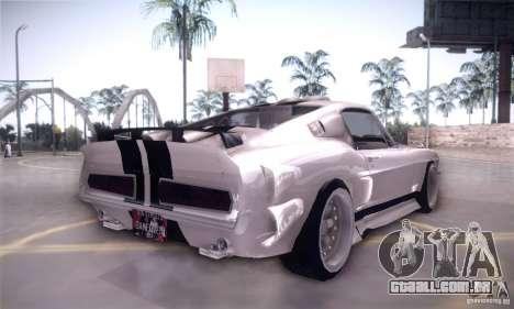 Shelby GT500 para GTA San Andreas vista traseira
